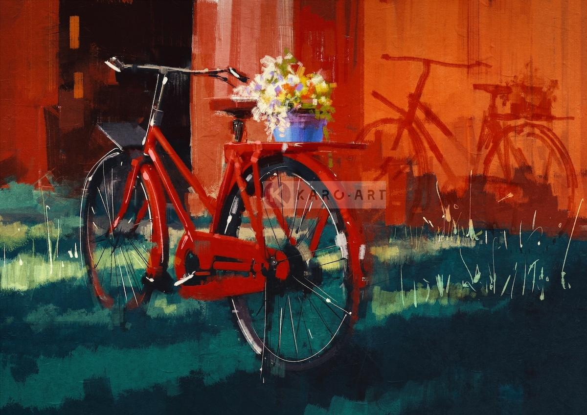 Afbeelding op acrylglas - Rode fiets met bloemen