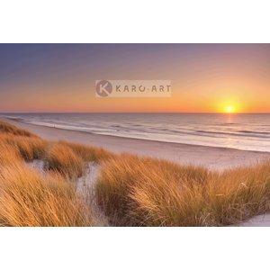 Karo-art Afbeelding op acrylglas - Duinen en strand bij zonsondergang op Texel
