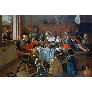 Karo-art Schilderij - Vrolijk huisgezin, Jan Steen