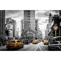 Karo-art Schilderij - Gele taxi in zwart en wit New York