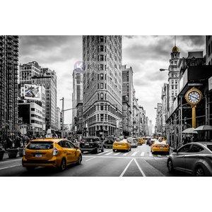 Karo-art Schilderij - Gele taxi in zwart en wit New York, zwart wit geel , 3 maten , Wanddecoratie