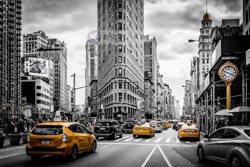 Schilderij - Gele taxi in zwart en wit New York, zwart wit geel , 3 maten , Wanddecoratie