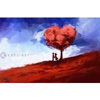 Karo-art Afbeelding op acrylglas - Echte liefde in het rood en blauw
