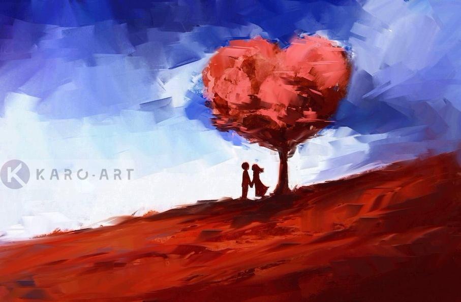 Afbeelding op acrylglas - Echte liefde in het rood en blauw