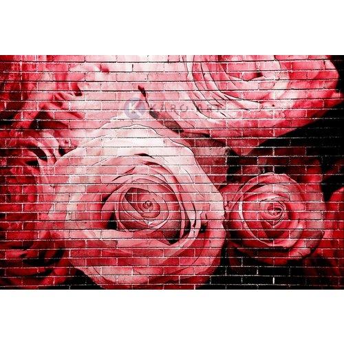 Karo-art Afbeelding op acrylglas - Rode rozen op bakstenen muur