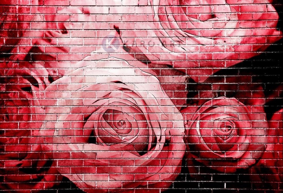 Afbeelding op acrylglas - Rode rozen op bakstenen muur
