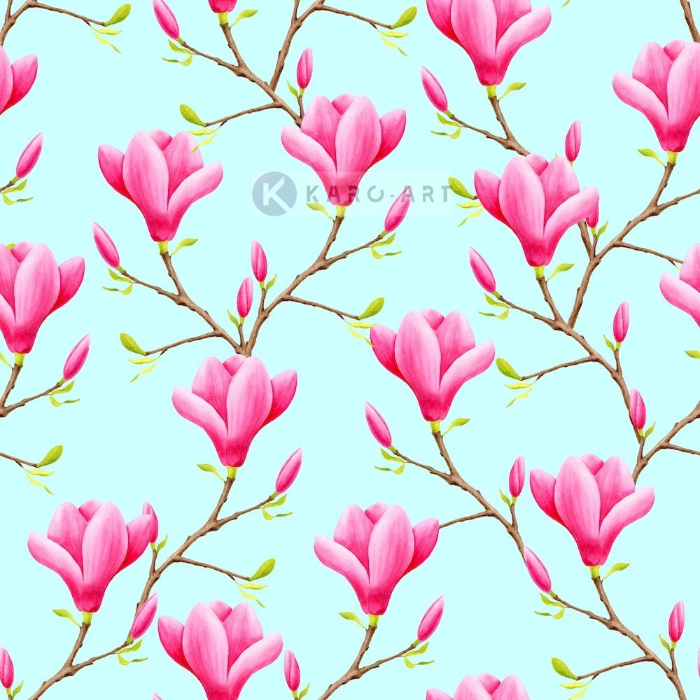Afbeelding op acrylglas - roze Magnolia bloemen naadloos patroon