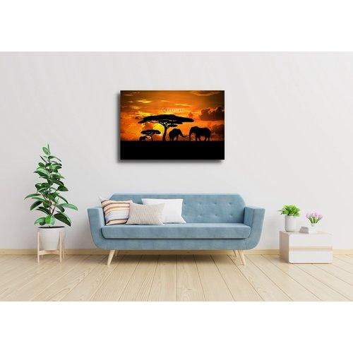 Karo-art Afbeelding op acrylglas - Olifanten familie bij zonsondergang