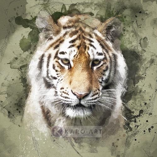 Afbeelding op acrylglas - Siberische tijger portret