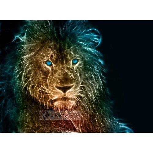 Karo-art Afbeelding op acrylglas - Leeuw in kleuren