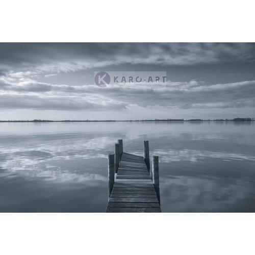 Karo-art Afbeelding op acrylglas - Reflectie in de ochtend, steiger