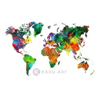 Karo-art Afbeelding op acrylglas - Wereldkaart in kleuren, multikleur