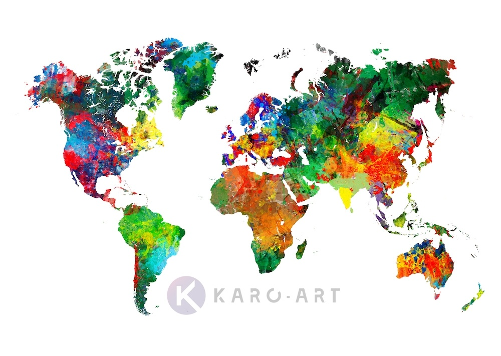 Afbeelding op acrylglas - Wereldkaart in kleuren, multikleur