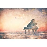 Karo-art Afbeelding op acrylglas - Piano, vleugel in een fantasie landschap