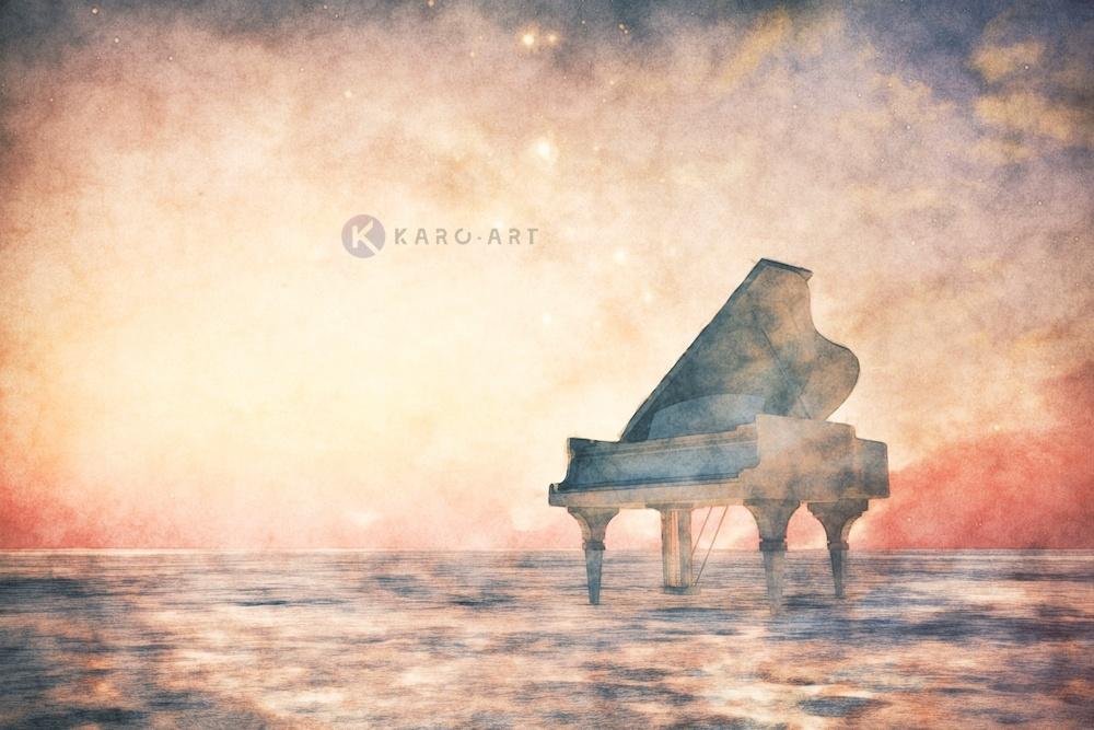Afbeelding op acrylglas - Piano, vleugel in een fantasie landschap