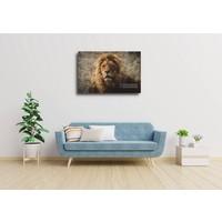 Karo-art Afbeelding op acrylglas - Majestueuze Leeuw in een vintage portret