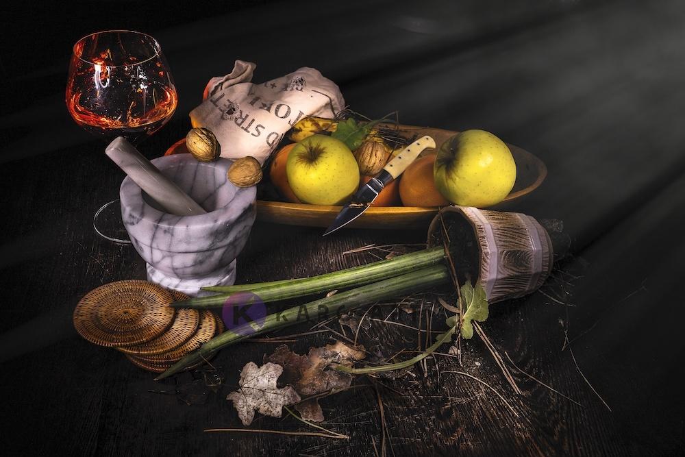 Afbeelding op acrylglas - Stilleven, mand met fruit