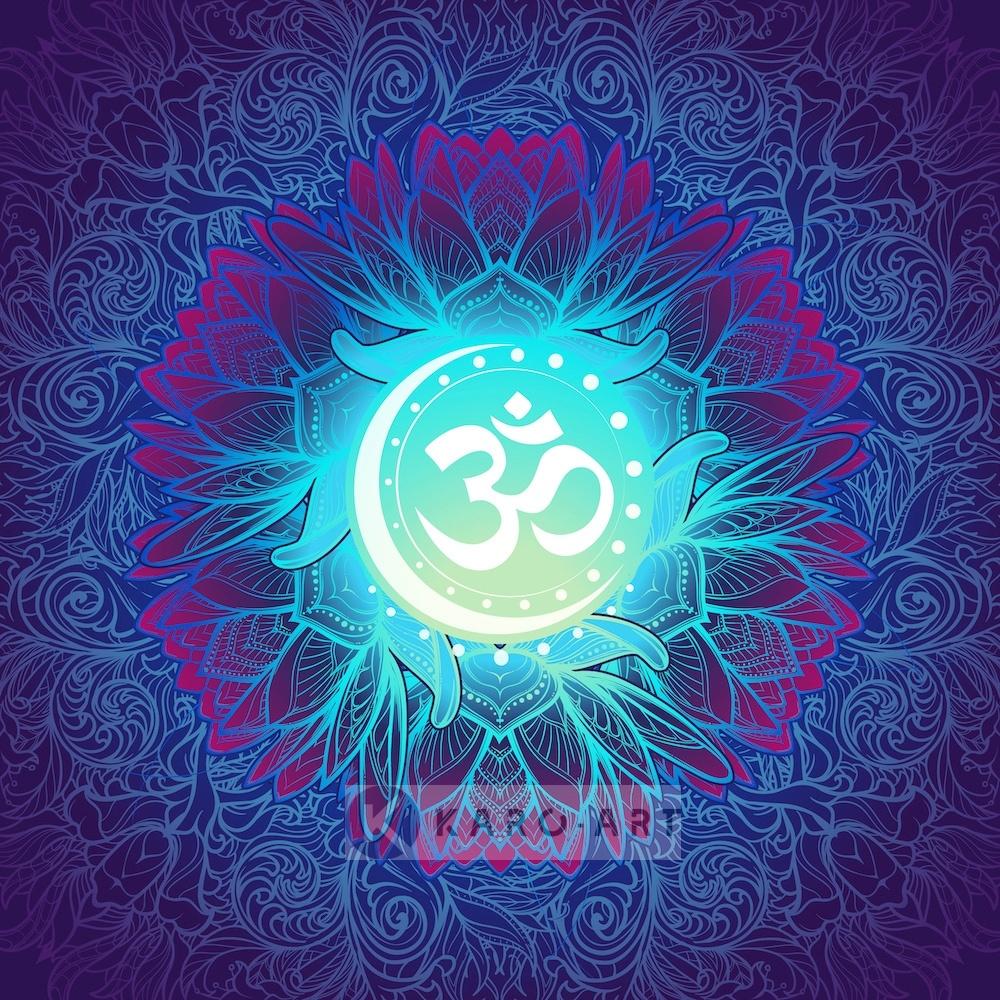 Afbeelding op acrylglas - Mandala, ohm teken, eeuwigheid, oneindigheid en het universum