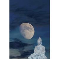 Karo-art Afbeelding op acrylglas - Boeddha, meditatie in het maanlicht