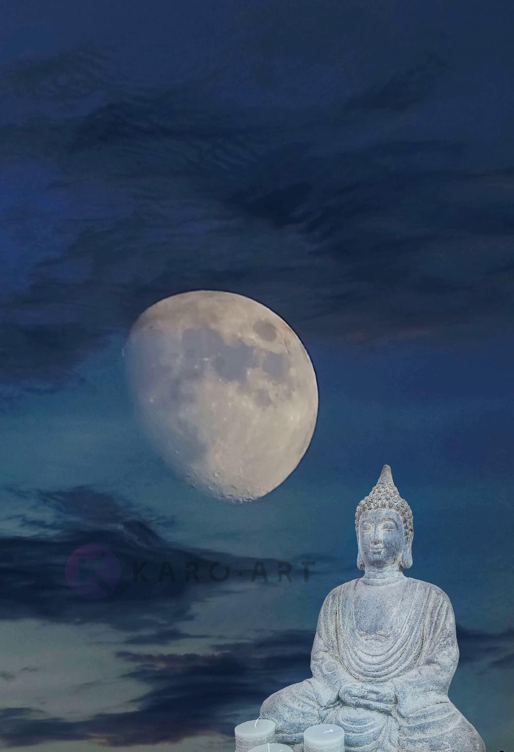 Afbeelding op acrylglas - Boeddha, meditatie in het maanlicht
