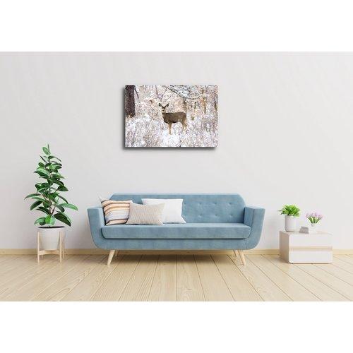 Karo-art Afbeelding op acrylglas - Hert in de winter