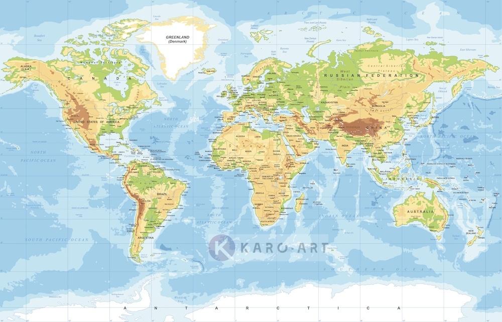 Afbeelding op acrylglas - Zeer gedetailleerde wereldkaart