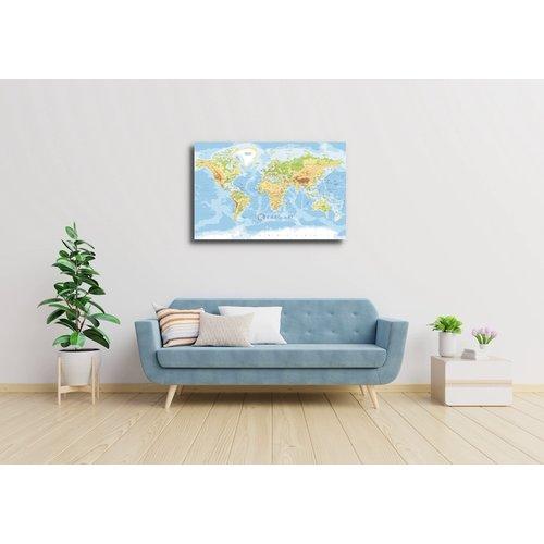 Karo-art Afbeelding op acrylglas - Zeer gedetailleerde wereldkaart