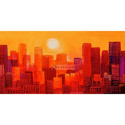 Karo-art Afbeelding op acrylglas - Wolkenkrabbers zonsondergang, geel rood