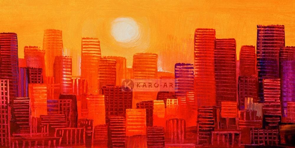 Afbeelding op acrylglas - Wolkenkrabbers zonsondergang, geel rood