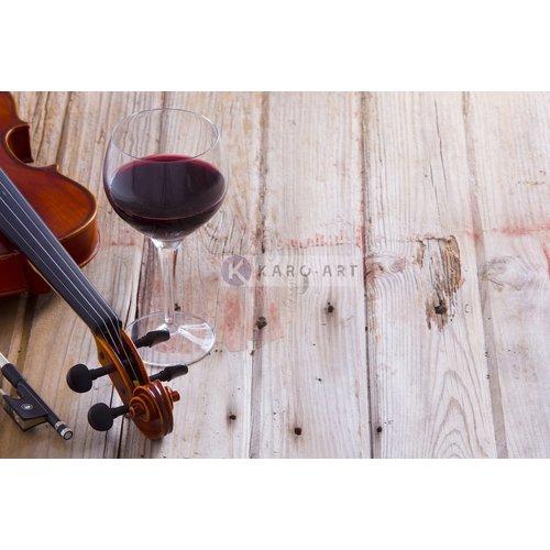 Karo-art Afbeelding op acrylglas - Rode wijn en viool, op canvas