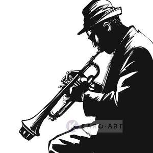 Karo-art Afbeelding op acrylglas - Jazz player in zwart en wit