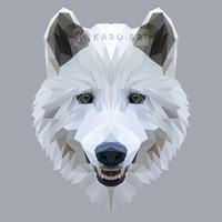 Karo-art Schilderij - Wolf, digitaal , Zwart wit grijs , 3 maten , Wanddecoratie