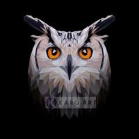 Karo-art Schilderij - Uil, digitaal , Zwart beige oranje , 3 maten , Premium print