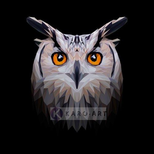 Karo-art Schilderij - Uil, digitaal