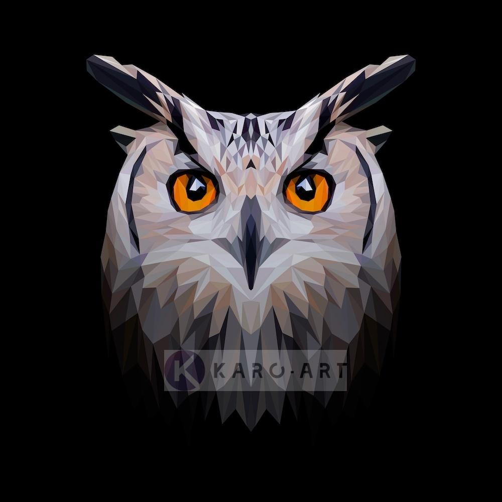 Schilderij - Uil, digitaal