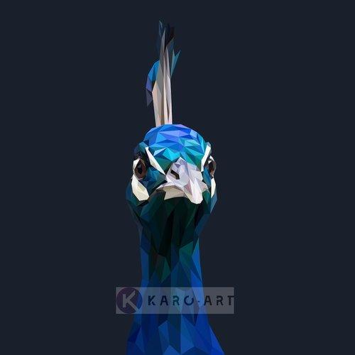 Karo-art Schilderij - Pauw, digitaal