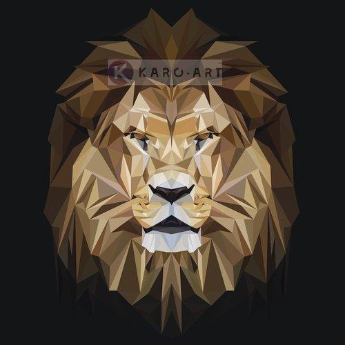 Karo-art Afbeelding op acrylglas - Leeuw, digitaal