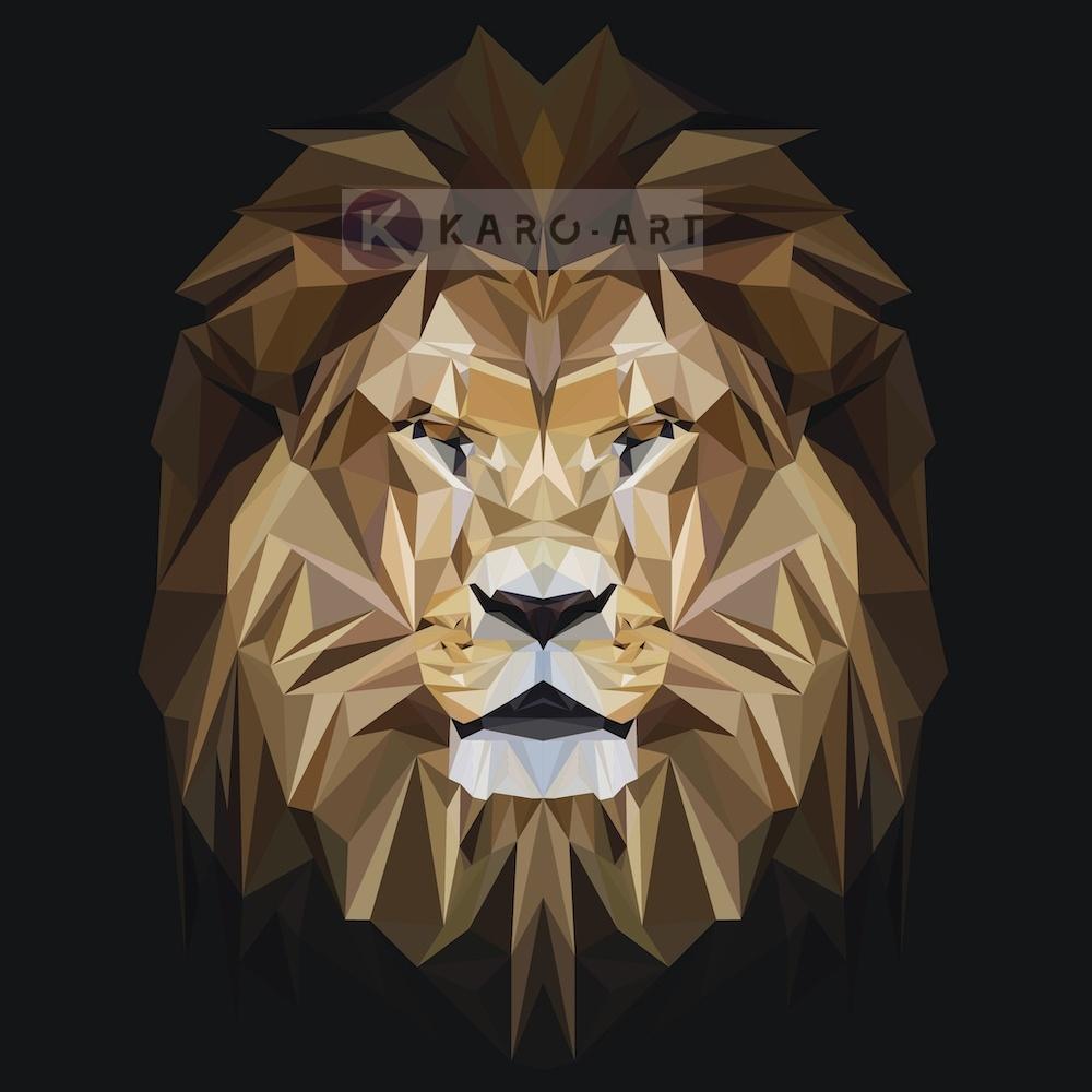 Afbeelding op acrylglas - Leeuw, digitaal , Beige bruin , 3 maten , Premium print
