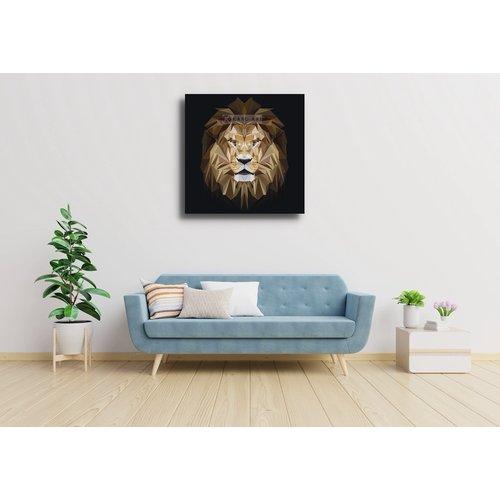 Karo-art Afbeelding op acrylglas - Leeuw, digitaal , Beige bruin , 3 maten , Premium print