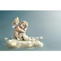 Karo-art Schilderij - Engel in de wolken ,Beige grijs , 3 maten , Premium print