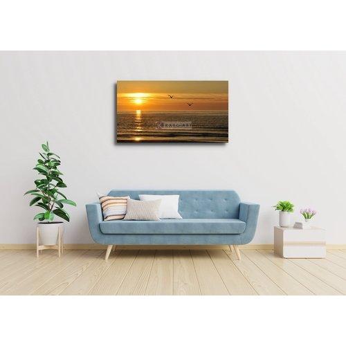 Schilderij - Prachtige zonsondergang, zeemeeuwen