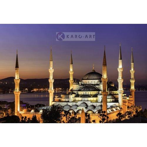 Schilderij - De Sultan Ahmetmoskee, Blauwe moskee, Istanboel, Turkije