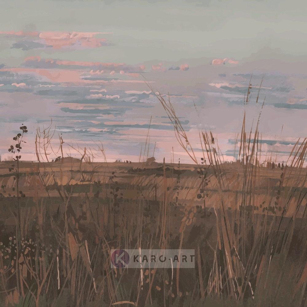 Schilderij - Verlaten landschap (premium print op canvas)
