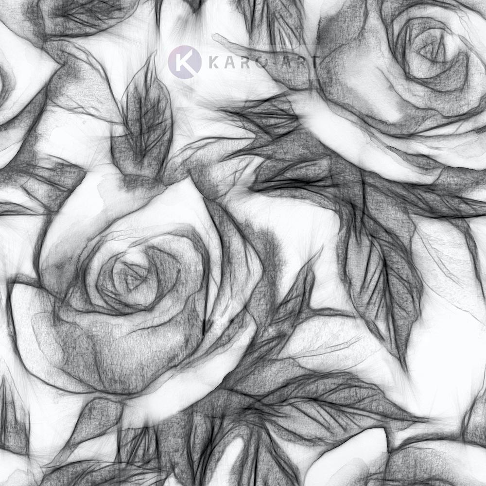 Afbeelding op acrylglas - Bloemmotief met rozen, Zwart wit , 3 maten , Wanddecoratie