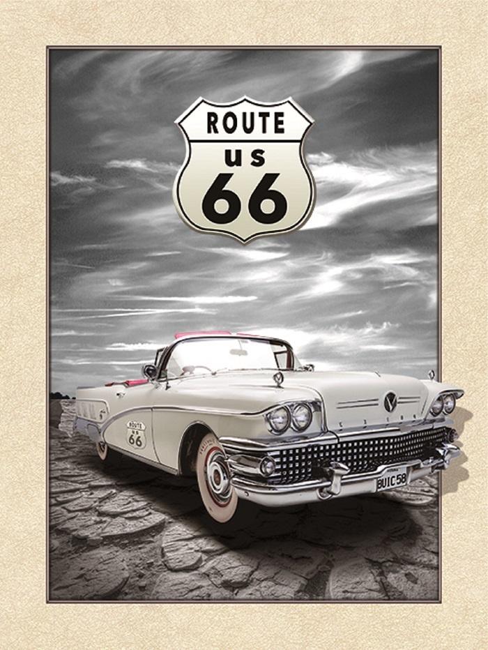 Schilderij - Route 66 Cadillac 3D Look, 30x40