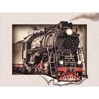 Schilderij - Stoomtrein 3D Look, 30x40