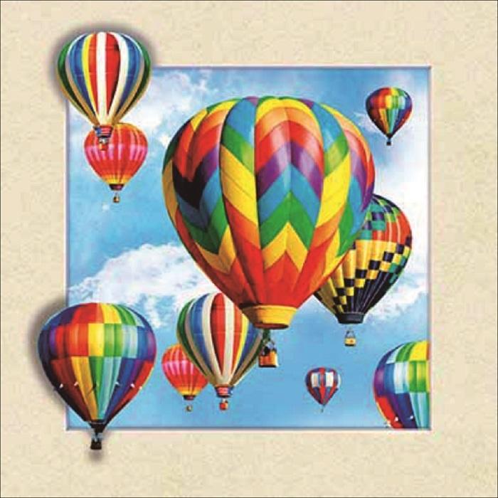 Schilderij - Luchtballon 3D Look, 30x40