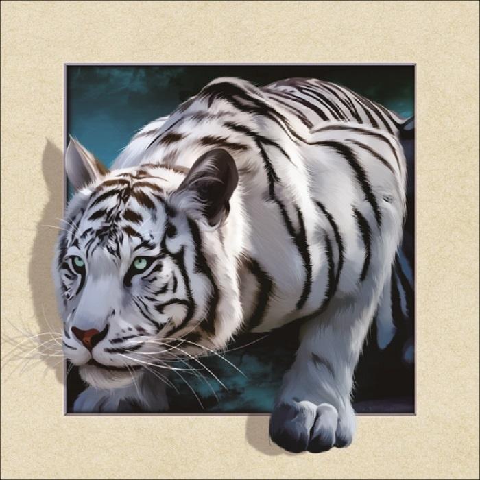 Schilderij - Witte Tijger 3D Look, 30x40