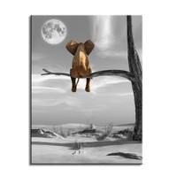 Schilderij - Olifant in de Boom, Zwart-Wit, 80x60