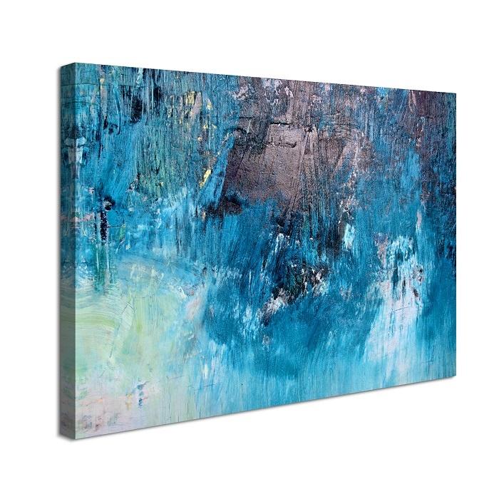 Schilderij - Blauw Abstract, Print op canvas 80x60